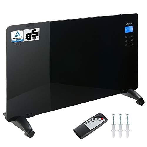 Arebos Glaskonvektor schwarz / 2000 Watt / 83 x 47 cm / 24h Timer/Touchpad/Fernbedienung/Thermostat/Wandmontage oder zum Stellen/GS geprüft von TÜV Rheinland