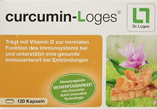 curcumin-Loges - Curcumin (Kurkuma) Kapseln hoch bioverfügbar - Nahrungsergänzungsmittel mit Curcumin Extrakt und Vitamin D (120 Kapseln)