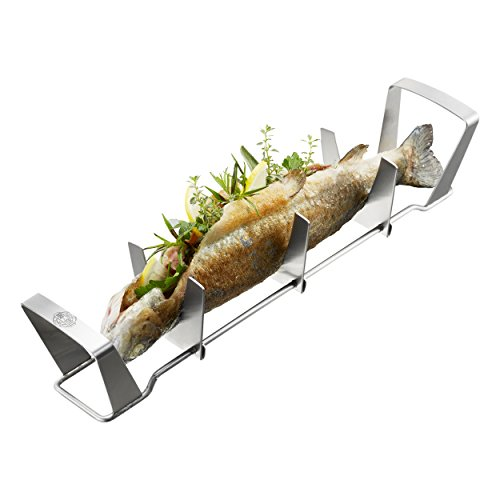Gefu Fish Rack BBQ, Holder, Tray, Grill Accessory, Barbecue Tool, Stainless Steel, L 36 cm, 89331