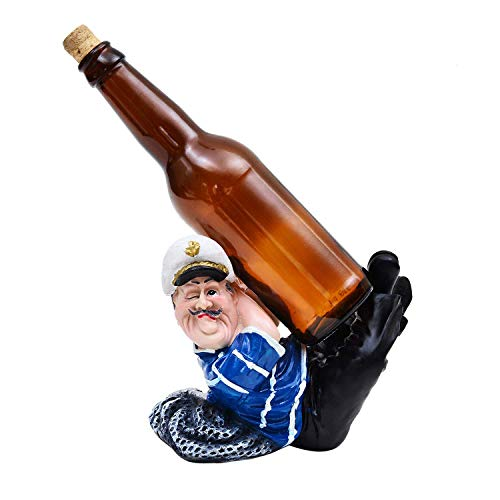 Shivaansh Enterprises The Love of Wine Fat French Navy Men Sleeping to give a Wine Bottle Holder Shape Figurine Kitchen Countertop Wine Cellar Hosting Table Decor Piece (Blue & Black)