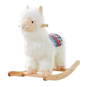 LIULAOHAN Caballo de oscilación del bebé, Niños Caballo Mecedora Bebé Regalo de cumpleaños de Dibujos Animados Alpaca Trojan Horse Silla Mecedora Bebé de Juguete
