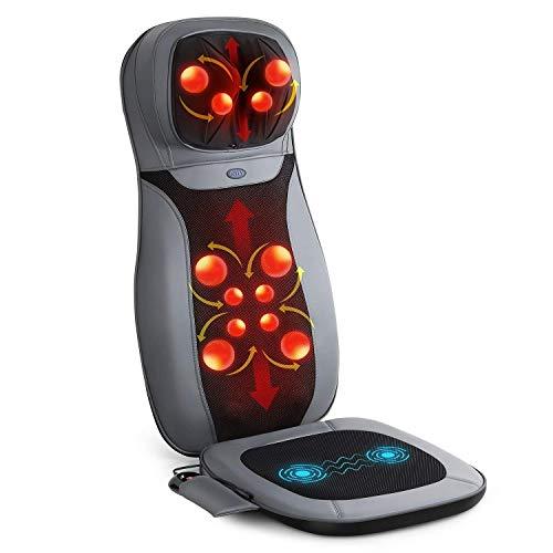 INTEY Sedile Massaggiante Shiatsu - Massaggiatore Schiena, Riscaldamento, 3D Impastamento e...