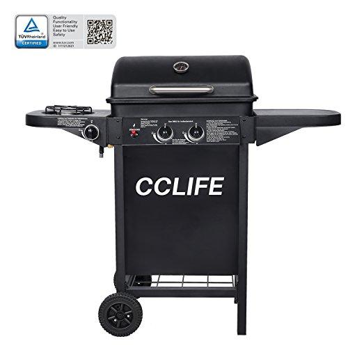 CCLIFE BBQ Barbecue griglia Giardino Barbecue a Gas con 2+1bruciatori Principali, Colore:2+1 Nero