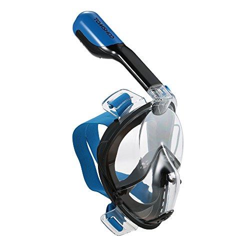 TOMSHOO Maschera da Snorkeling 180 Panoramico Viso con Inserti Auricolari Nuoto Immersione Maschera Facciale Anti-Appannamento per Adulti e Bambini