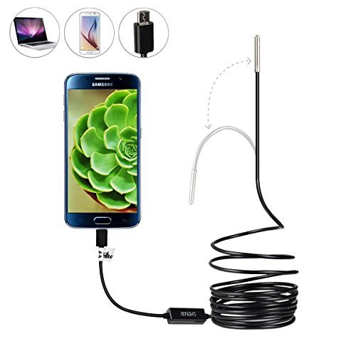 Ultra Slim 0.21 inch Dia. Probe USB Endoscope with Semi Rigid Cable USB Type C Adapter Borescope Waterproof Inspection Camera Snake Camera for PC Notebook and Android Device(5M/16.4ft Cable)