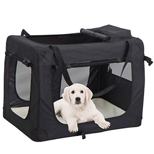 MC Star Bolsa de Perro Plegable Portátil Portador de Mascotas Transportín Perros M 60 x 42 x 42 cm (Negro,Azul)