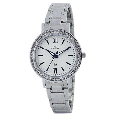 Maxima Analog White Dial Women's Watch-51824CMLI