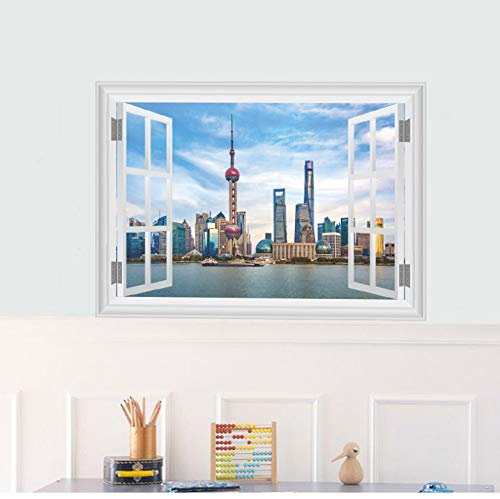 Adesivi murali scenario Cina Shanghai Oriental Pearl Tv Torre Adesivi murali Finestra 3D Camera da...
