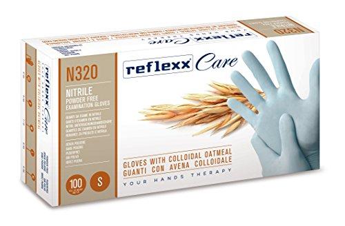 Reflexx N320/L Guanti Monouso in Nitrile con Avena Colloidale, 100 Pezzi, L