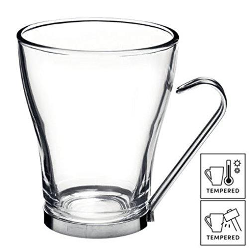Bormioli 6x Grande Tazza di tè/caffè/Latte Occhiali con Manico in Acciaio Inox 32cl (11Œ oz)