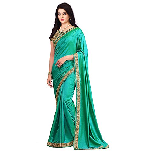 OM SAI LATEST CREATION Silk with Blouse Piece Saree (2018_Green_One Size)