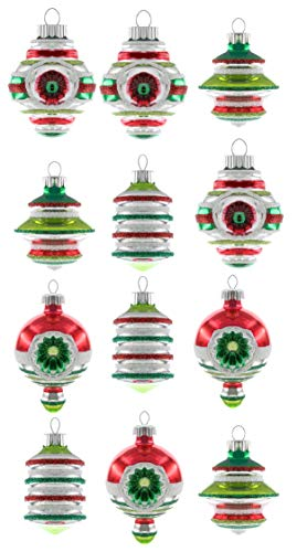"Christopher Radko Holiday Splendor 1.75"" Count of 12 Decorated Shaped Christmas Ornaments"