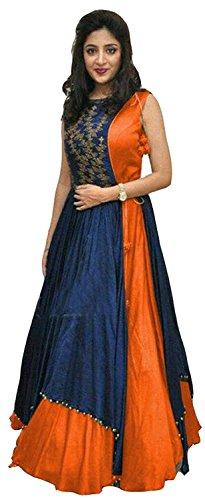 Dresses (Ladies4Zone Women's Tapeta Silk Semi - Stitched floor length Free Size Gown)