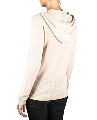 100% Kaschmir Damen Kapuzenpullover | Hoodie mit Reißverschluss (Beige / Washed Ecru, XXL) - 2
