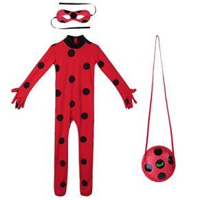 URAQT Niño Ladybug, Disfraz de Cat Noir, Mono de Superhéroe de Cosplay para Niños