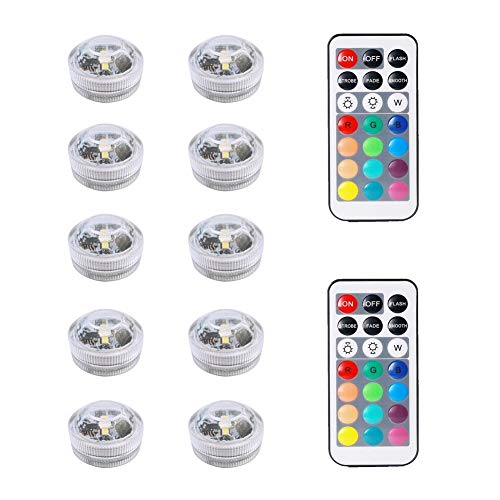10pcs Le luci submergibili del LED, le luci subacquee impermeabili multicolori SMD 3528 le luci di...