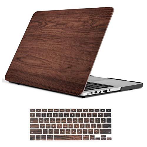 iCasso - 2 in 1 Wooden Pattern Rubberized Plastic Hard Case + Keyboard Cover for MacBook Pro 13 Inch Retina Model A 1425/A1502 - Brown