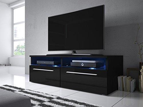 Siena - Mobile Porta TV / Supporto TV Moderno (100 cm, Nero Opaco / Pannelli Frontali Nero Lucido...