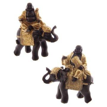 Puckatour Set de 2 Figuras Decorativas de Buda Montando en Elefante, Color Dorado y marrón 3