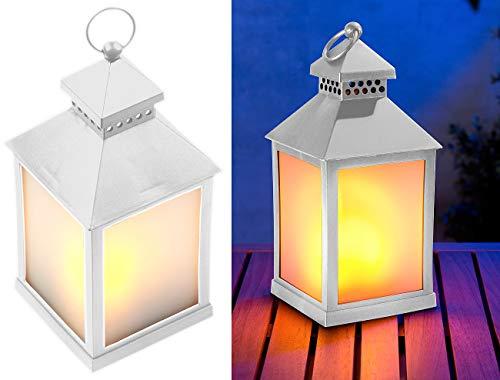 Lunartec LED-Laternen Deko: LED-Laterne mit realistischem Flammenspiel und Timer, weiß (LED-Effektlichter)