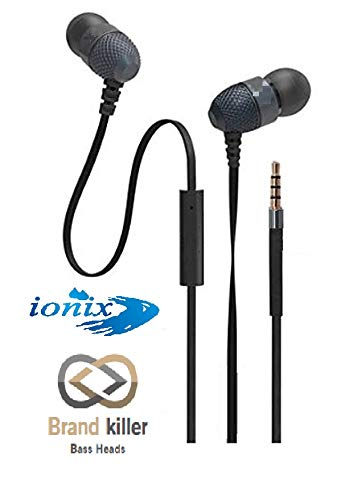 Ionix Brand Killer Handfree Imported Wired in-Ear Headphone Earphones with 3.5mm Jack & Mic, Compatible with All Smartphones,Earphones with Microphone, Universal Types (Black/White Color)