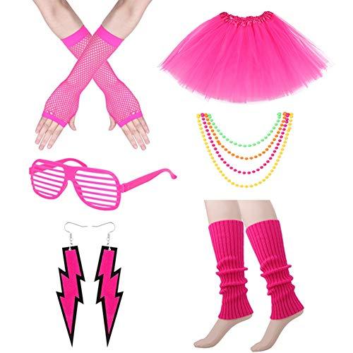 80s Costume Accessories Set, Tutu Skirt Neon Necklace Scaldamuscoli Orecchini Fishnet Guanti Vetro...