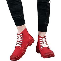 Mymyguoe Zapatos de Lona Altos Zapatos Transpirables Zapatos Casuales Zapatillas Unisex Adulto Zapatos para Caminar Antideslizantes Zapatillas de Senderismo Aire Libre