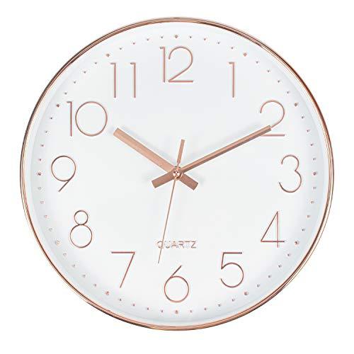 Tebery Orologio da Parete Rotondo da 12 Pollici (30 cm), Grande, Senza Rumore, Moderno, per Soggiorno, Ufficio e caffeteria (Oro Rosa, più Rosa)