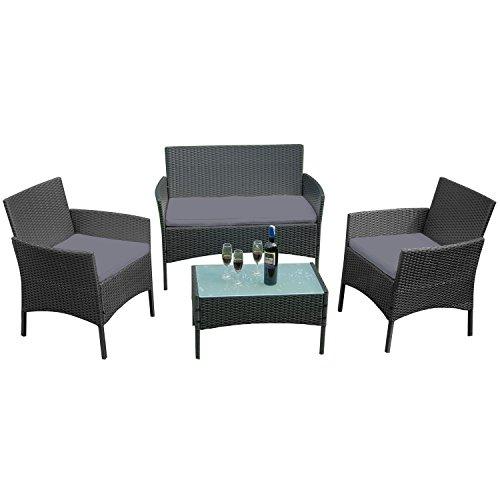 LARS360 Set da giardino per esterni Set da giardino in Poly Rattan Tavolo da giardino con sedie...