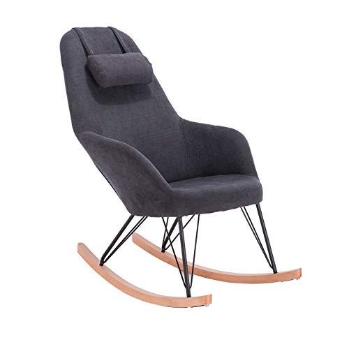 WOLTU® Schaukelstuhl SKS13gr Relaxstuhl Sessel Schaukelsessel Schwingsessel Relaxliegen Stoff Stahl Massivholz Grau
