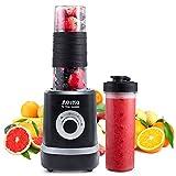Mini Mixer Smoothie Maker, Aeitto Standmixer Mini Blender, Shake Smoothie Mixer Blender mit 2 520ml Reise Sport Flaschen BPA-frei Tritan-Trinkflasche, 3 einstellbare Geschwindigkeit