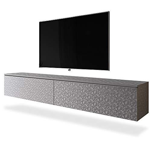 Selsey KANE - Mobile TV a Parete/Stile Scandinavo/Tavolino TV / 180cm / Motivo Origami Grigio