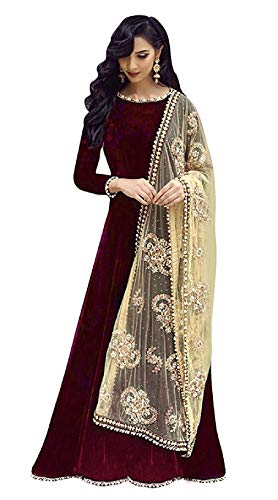 Sojitra Enterprise Women's Tapeta Silk Bridal Gown and Anarkali (SAHO, Maroon, Free Size)