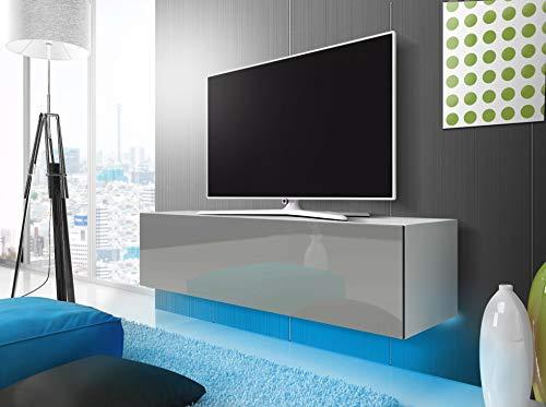 SLV SIMPLE - Mobile basso per TV, con LED blu (bianco opaco/grigio lucido, 160 cm)
