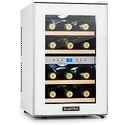 Klarstein Reserva • Nevera de vinos • Refrigerador bebidas • 34 L • 12 Botellas • 4 Estantes • Control Touchpad • 2 Zonas • Temperatura 7-18 °C • Doble Cristal • Blanco