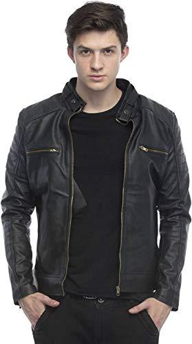 Generic Men's Faux Leather Retail Biker Jacket (Black, XXXL)