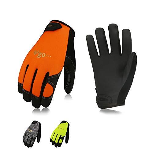 Vgo 3Pares Guantes de trabajo de Cuero PU Pantalla Táctil de Alta Destreza Multifunción (3 Colores Talla 9/L, PU8718)