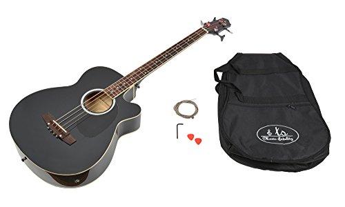 Basso acustico amplificabile con equalizzatore a 4 bande integrato e accessori. Nero.