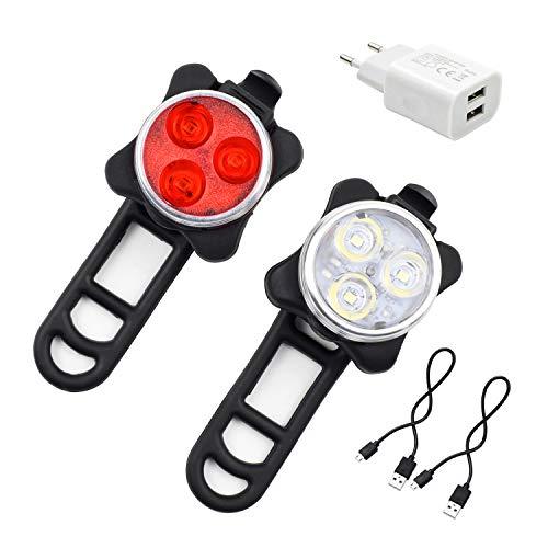 Ozvavzk Luci per Bicicletta,Luce della Bicicletta 4 modalità, Ricaricabile Set Luce Bici LED Light...