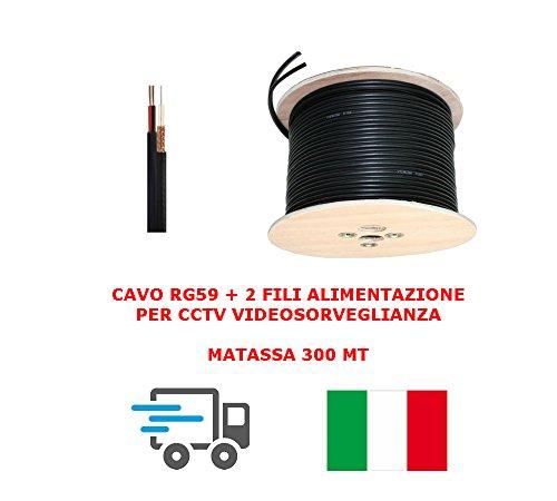 MATASSA CAVO VIDEO COASSIALE RG59 + 2 FILI ALIMENTAZIONE 300MT 0.58 mm CCTV X TELECAMERE VIDEOSORVEGLIANZA ALTA QUALITA' PROFESSIONALE
