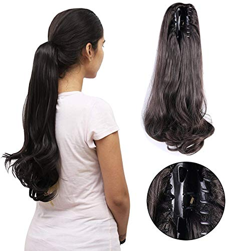 Foreign Holics Ponytails Hairpiece Straight Claw Clip Ponytail Hair Extensions 24 inch (100g, Dark brown)
