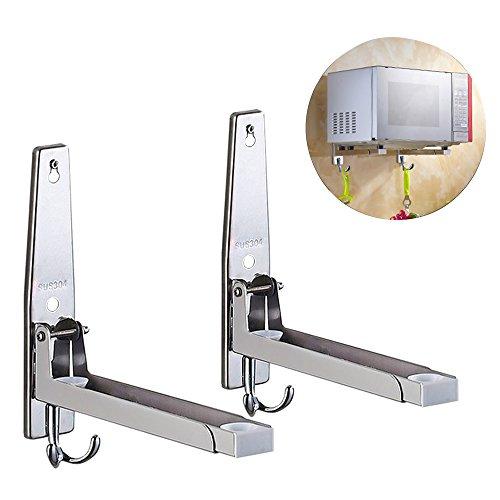 Mikrowellenhalterung mit Haken, Mikrowellenhalter für Mikrowelle, Backofen bis 40 KG BELASTBAR, Silber