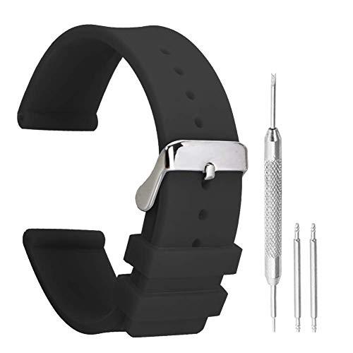 braccialetti per orologi cinturino vigilanza di gomma sportiva nera antiscivolo in silicone 14 millimetri di moda per le donne fine rettilineo
