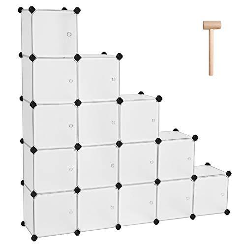 SONGMICS Scaffale Portaoggetti Modulare Fai da Te con 16 Cubi, Mobile in Plastica di qualità,...