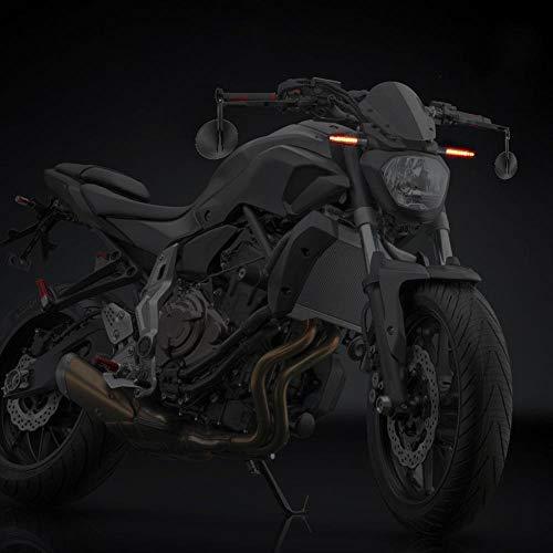 2 Lenkerendenspiegel Motorrad Spiegel E-geprüft Seitenspiegel und 4 LED Motorrad Mini Blinker Lauflicht Universal für TV MT 07 MT 09 S1000 FZ8 G310R R1200 GSXR 690 Z750 Z1000 … 2