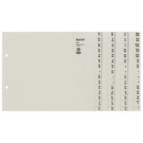 Leitz 13040085 Registerserie A-Z, A4, Papier, für 4 Ordner, grau