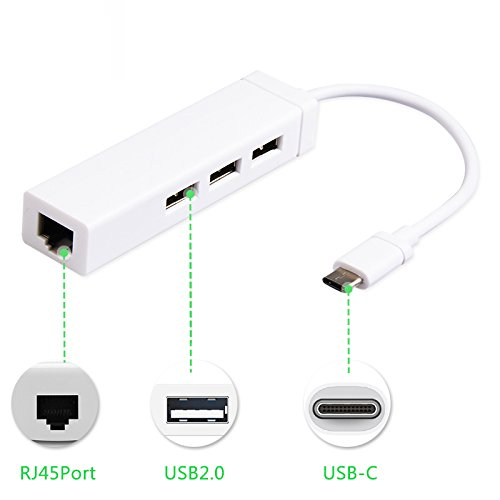 Generic Multi-function Type C to 3-Port USB Hub with RJ45 LAN Ethernet Adapter Cable For Macbook 12 inch