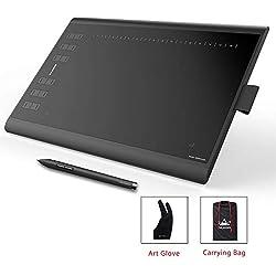 HUION NEW 1060 PLUS Tableta Gráfica con 8192 liveles de presión 12+16 teclas de acceso directo personalizables. Viene con un guante de dibujo y una bolsa de transporte
