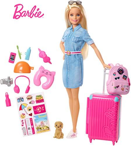 Barbie in Viaggio, Bambola Bionda con Cucciolo, Valigia che si Apre, Adesivi e Accessori, Giocattolo...