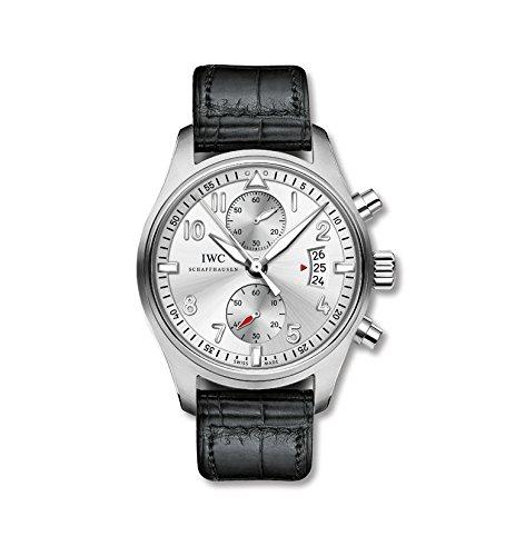 Porsche Pilot Spitfire Silber Zifferblatt Chronograph Schwarz Alligator Leder Herren Armbanduhr iw387809